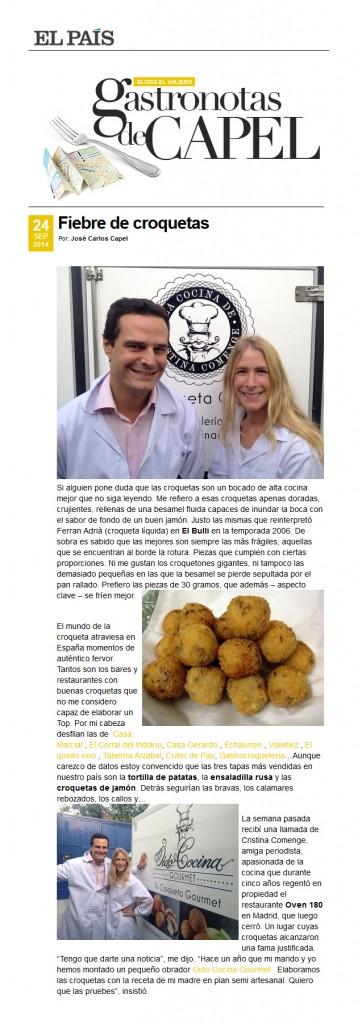 """Artículo en """"Gastronotas de Capel"""" en El País"""